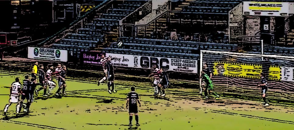 Martin Canning scores a header versus Dundee