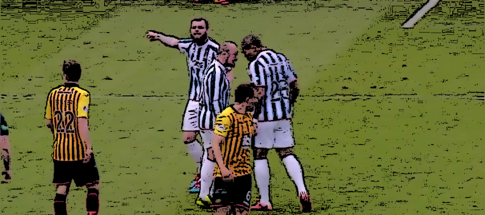 Teammates Jamie Hamill and Josh Magennis argue during Kilmarnock's 4-1 victory over Partick Thistle